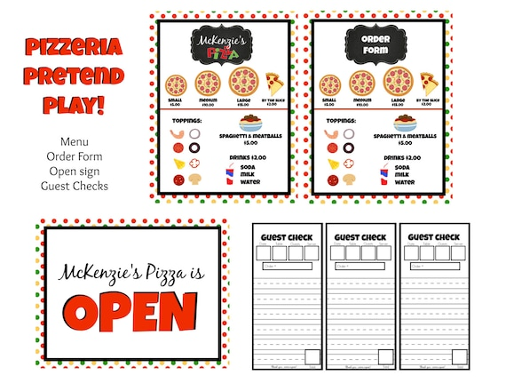 personalized instant download dramatic play pretend menu