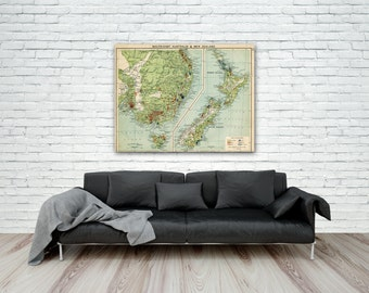 Vintage New Zealand Map Print, South East Australia Map, 1910 Map, Economic Atlas, Industry Map, giclee map print, New Zealand giclee map