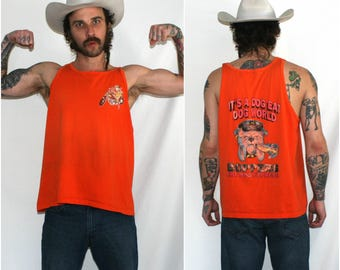 Vintage Hot Dog Express Tank Top. Orange Distressed Bull Dog Eating A Hot Dog Tank Top. Hipster Rocker 80s Dog Eat Dog World Muscle Shirt