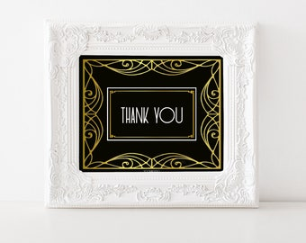 Thank You Printable Party Decor, digital table sign for Wedding reception Graduation award ceremony, black gold art deco poster, jpg pdf