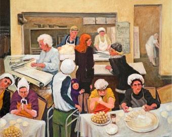 Pittsburgh Easter Ukrainian Pierogi Makers print in 3 sizes; painting by Ray Sokolowski