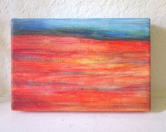 Dusk.  Desert landscape, southwestern painting, small painting, SFA, 4x6,  blue, red, yellow, green
