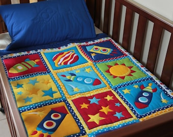 Boys Rocket Ship Baby Quilt with matching pillowcase