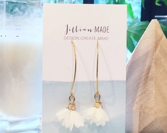 White ruffle drop earrings