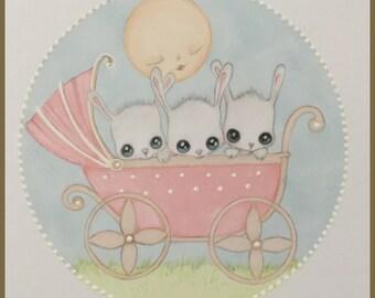 Original art pram full of bunnies lowbrow fantasy art