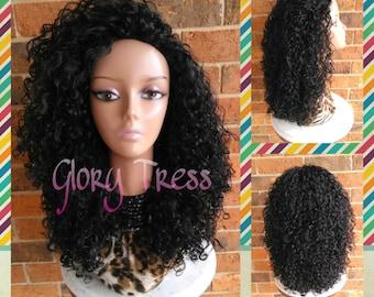 ON SALE // Big Kinky Curly Half Wig, Beach Curly Afro Wig, African American Wig // AMAZING