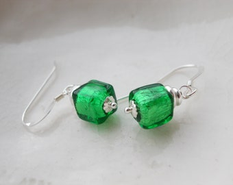 Small Murano Glass Emerald Green Earrings
