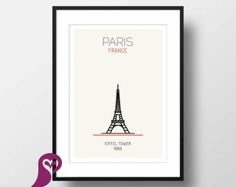 Eiffel Tower Poster | Paris | France | Buildings | Architecture | Wall Art | Wall Decor | Home Decor | Office Decor | Poster | Digital Print