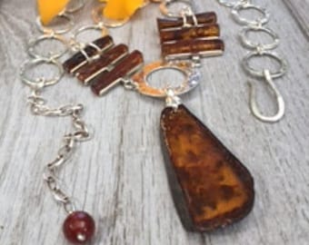 Amber lovers. All hand crafted amber necklace. Sterling silver.