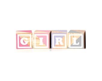 "Announcement Series GIRL : 4pcs Wood Blocks (2.5"")"