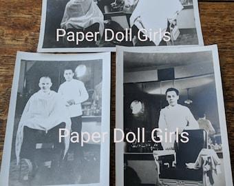 Three Original Vintage Black & White Barber Shop Photographs Photos 1940's New York Paper Ephemera Scrapbook Supply