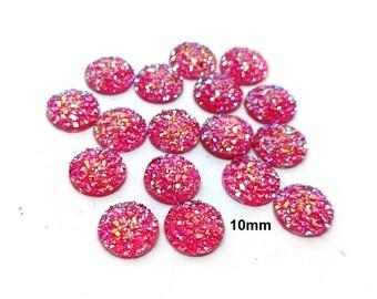 10 pcs Druzy Resin Embellishment Cabochons Hot Pink - 10mm - Dome Circle