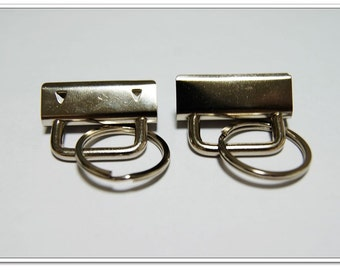 """20 sets 1.25 inch (32mm) Key FOB Chain Wristlet Hardware Sets With Key Rings, Key Fob Hardware, Nickel finish,1-1/4"""""""