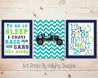 Nursery art set Race car nursery Boy nursery art Baby boy art Toddler boy bedroom Car nursery art I count cars print Race cars print #1298