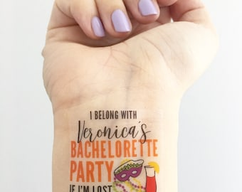 Custom Bachelorette Party Temporary Tattoos - Mardi Gras