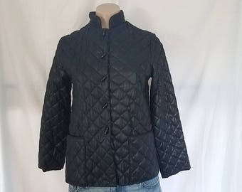 Vintage 1970's Asian Inspired Mod Quilted Coat Jacket Mandarin Collar Toggle Button Up sz  XS