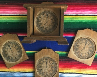 Vintage Clock Shaped Wooden Coaster Set