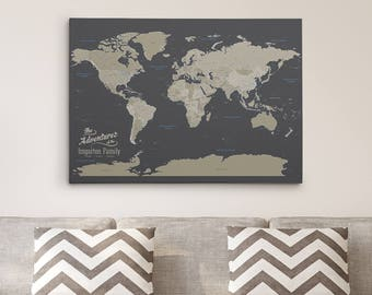 Personalized travel pin maps to track lifes by pushpintravelmaps gallery wrapped personalized canvas map earth toned world map with pins 24 x gumiabroncs Choice Image