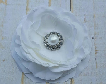 "White Flower Clip White Hair Flower 3.5"" White Ranunculus Hair Clip Pearl and Rhinestone Hair Clip Wedding Bridesmaid Flower Girl Hair Clip"