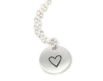 Dainty Heart stamped Necklace - Hand stamped disc - Delicate Everyday Necklace