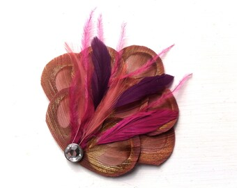 BRANDY II Dusty Rose, Fuchsia, and Grape Purple Peacock Hair Fascinator, Clip, Couture Wedding