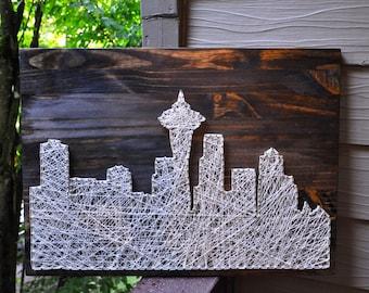 Customizable City Skyline String Art, Seattle