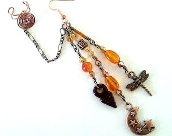 Copper Amber Chain Ear Cuff Earring ~ Bajoran Earring ~ Boho Ear Cuff ~ Celestial Gypsy Moon Dragonfly Dangle Ear Chain