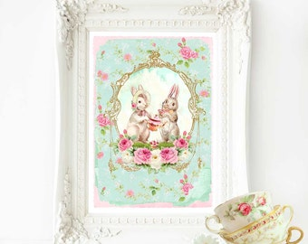 Rabbit print, nursery print, Easter bunny, woodland tea party, white rabbit, A4 giclee