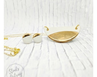 white and gold necklace set porcelain earrings set gold dipped necklace nickel free chain women gift half circle necklace clay jewelry set