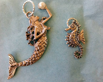 Mermaid and Seahorse charms pendants