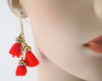 Tassel Earrings - Statement Earrings - Gold Earrings - Red Earrings - Chain Earrings - Boho Earrings - Crystal Earrings - Long Earrings
