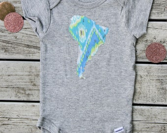 South America Baby Onesie®, Baby Shower Gift, South American Baby Onesie®, 52 Fabric Choices Available!