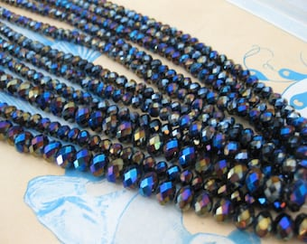 1 Strand Jet Vitrail - 6 mm Crystal Cushion Beads