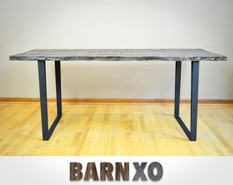 Modern Industrial Reclaimed Barn Wood Dining Table - Fabricated Flat Black Steel Legs - Scorched W/ Enduor