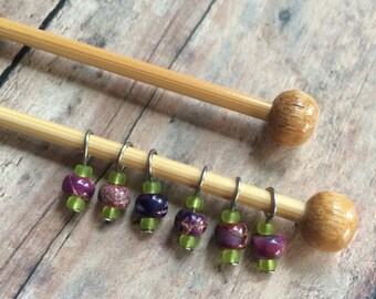 Pink/Purple/Green Sock Stitch Markers - Set of 6 for your project bag