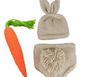 Baby rabbit hats pants carrot , baby Hallowmas outfit, costumes newborn baby photography props, handmade knitted baby hats+pants