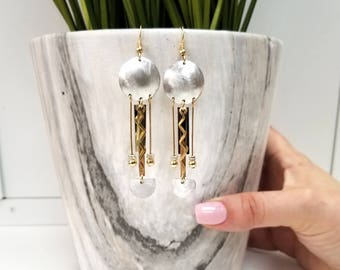 Large Silver & Gold Statement Earrings, Handcrafted Modern Metal Jewelry, Gifts for Her, Mother's Day Gift - Coachella Earrings by Jon Allen