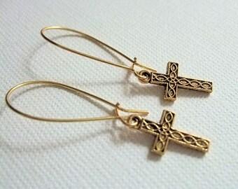 Gold Cross Earrings, Religious Jewelry