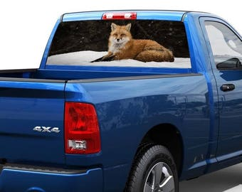 Snow and fox in the forest nature Rear Window Decal Sticker Pick-up Truck SUV 2