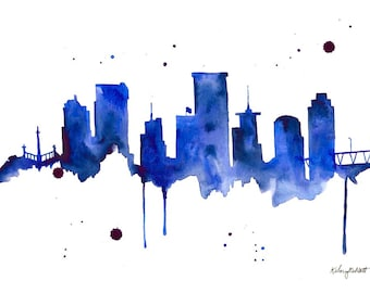 Watercolor Painting Richmond Virginia Skyline Print Wall Art Abstract Painting Minimalist Large Wall Art Housewarming Gift Living Room Decor