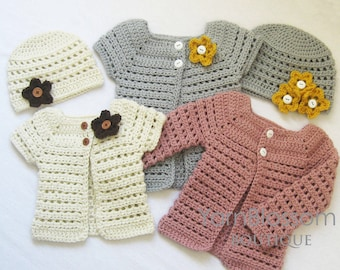 CROCHET PATTERN Toddler Cardigan and Beanie crochet patterns, digital ePattern, Instant  Download