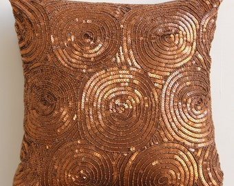 "Luxury  Spiral Sequins Antique Throw Pillows Cover, Copper Pillows Cover Silk Pillowcase, Square  20""x20"" - Copper Swirls"