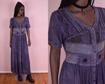 90s Blueish Purple Button Down Flowy Dress/ Small/ 1990s