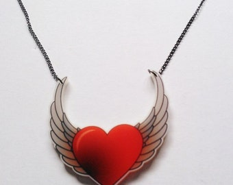 Winged Angel Heart Tattoo Necklace
