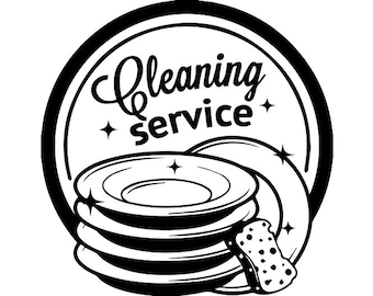 Cleaning Logo #14 Maid Service Housekeeper Housekeeping Clean Vacuum Mop Floor .SVG .EPS .PNG Digital Clipart Vector Cricut Cutting Download