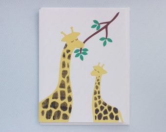 Thanks a bunch giraffes - papercut collage card