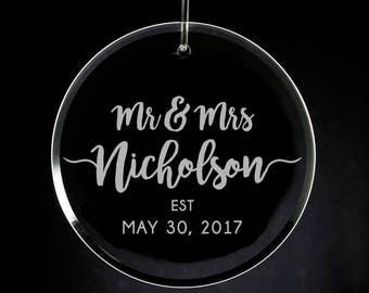 Engraved Mr & Mrs Glass Ornament, Personalized Wedding Gift, Newlyweds, 1st Christmas,  Married 2017, Custom Glass Ornament, Etched Glass