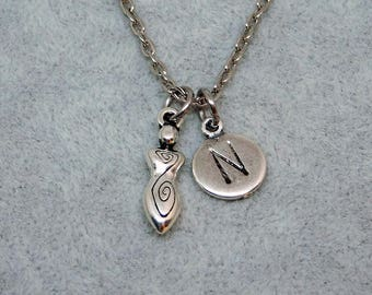 Silver Goddess with Initial necklace, initial charm, goddess charm, goddess pendant, personalized jewelry