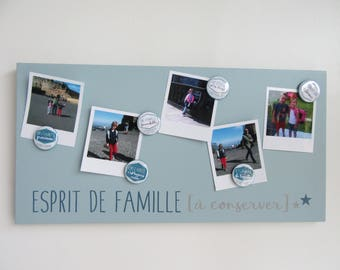 Magnetic memory 25 x 50 green, blue and light grey - family keep
