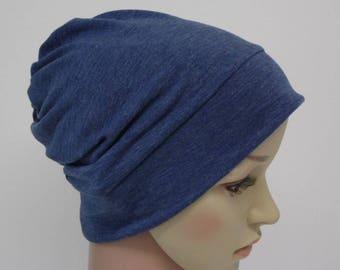 Denim blue beanie hat, viscose jersey beanie, bad hair day hat, lightweight beanie, summer beanie, chemo beanie